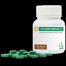 Dextromethorphan 15mg (chai 100 viên, Hộp 10 vỉ x 10 viên )