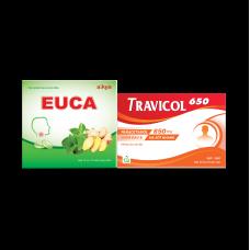 COMBO BẢO VỆ, HỖ TRỢ ĐIỀU TRỊ HO, HẠ SỐT (EUCA EXTRA, TRAVICOL 500) eng